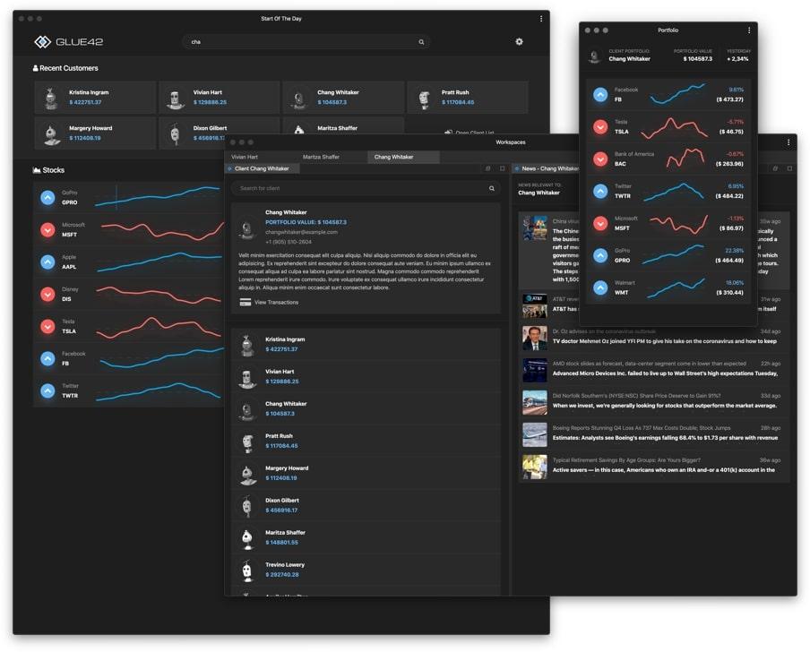 Glue42 Core Web Application Integration Platform